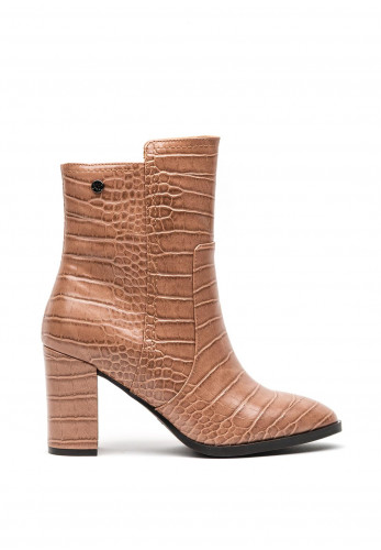 Xti Faux Leather Croc Chucky Block High Heel Boots, Nude