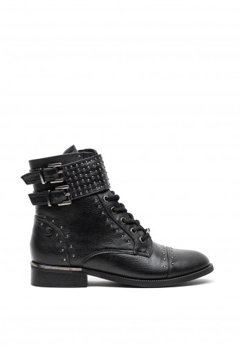 Xti Faux Leather Studded Biker Ankle Boots, Black