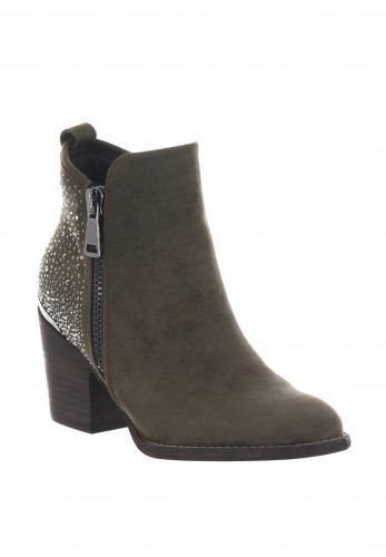 Xti Embellished Faux Suede Ankle Boots, Khaki