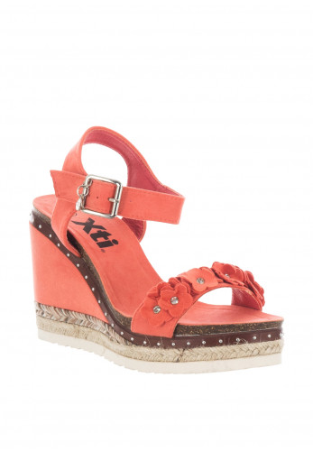 Xti Womens Flower Wedged Sandals, Coral
