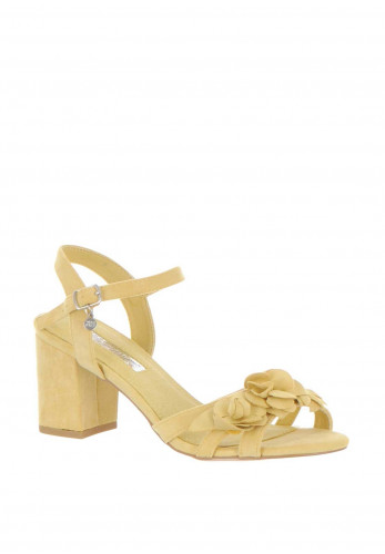 Xti Womens Flower Block Heel Sandals, Yellow
