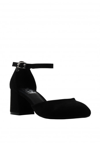Xti Faux Suede Block Heel Shoes, Black