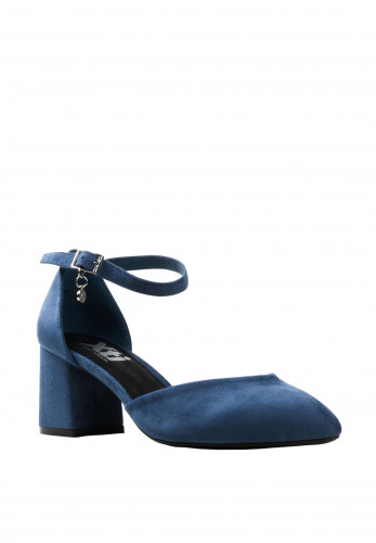 Xti Faux Suede Block Heel Shoes, Jeans Blue