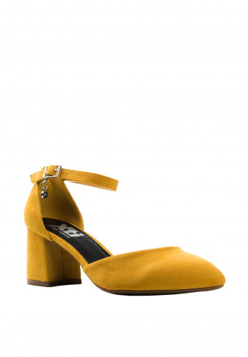 Xti Faux Suede Block Heel Shoes, Yellow