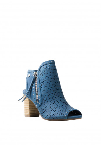 Xti Womens Laser Cut Open Ankle Boots, Jean Blue