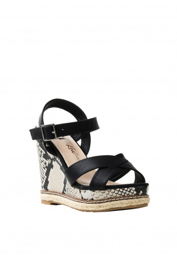 Xti Womens Snake Print Wedged Sandals, Black