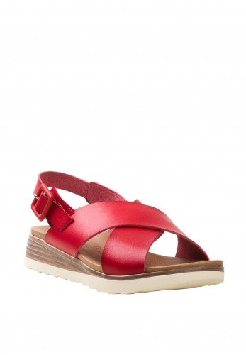 Xti Criss Cross Strappy Sandals, Red