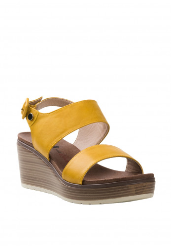 Xti Double Block Strap Wedges, Yellow