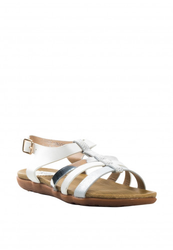 Lunar Girls Charlie Metallic Strap Sandals, White