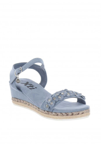 Xti Girls Diamante Flower Wedged Sandals, Jean Blue