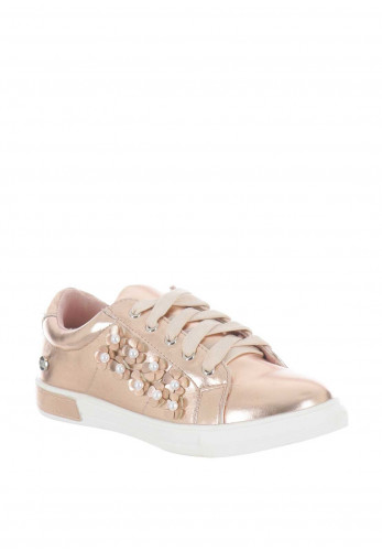 Xti Girls Metallic Pearl Flower Trainers, Rose Gold