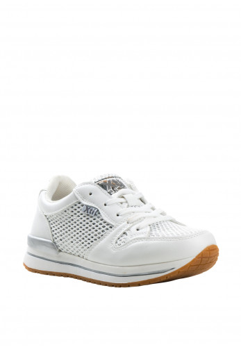 Xti Girls Mesh Sequin Faux Leather Trainers, White