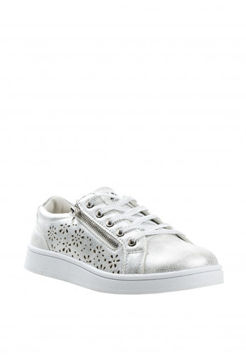 Xti Girls Laser Cut out Zip Trainers, Silver