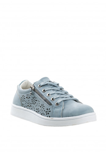 Xti Girls Laser Cut out Zip Trainers, Blue