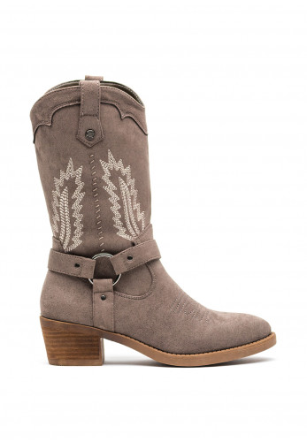 Xti Faux Suede Western Cowboy Boots, Taupe