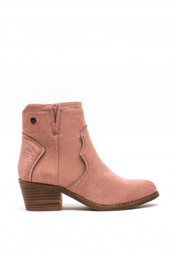 Xti Faux Suede Western Ankle Boots, Nude
