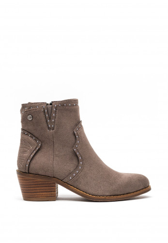 Xti Faux Suede Western Ankle Boots, Taupe