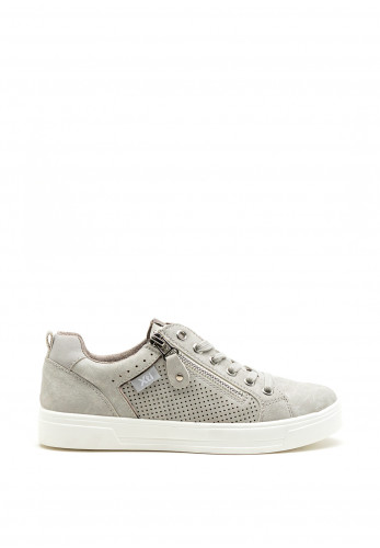 Xti Womens Faux Leather Zip Trainers, Grey