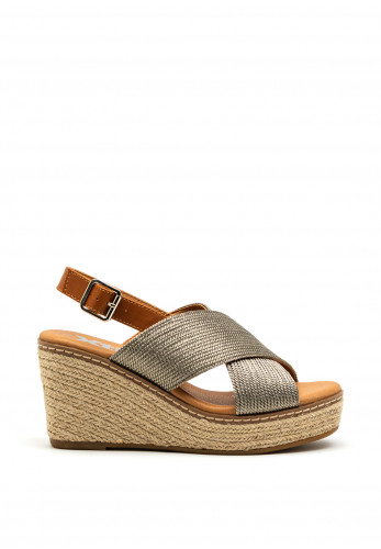 Xti Womens Woven Metallic Vegan Wedged Sandals, Taupe