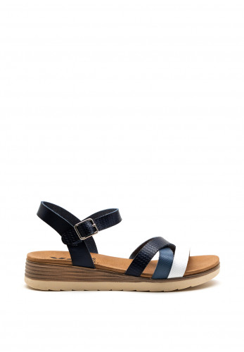 Xti Womens Ribbed Strappy Sandal, Navy Multi