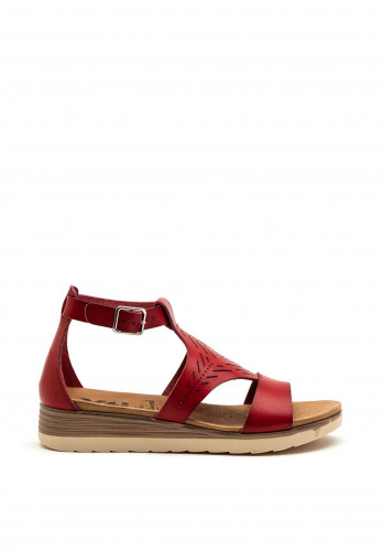 Xti Womens Ankle Strap Sandal, Red