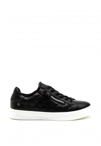 Xti Womens Quilted Faux Leather Trainer, Black