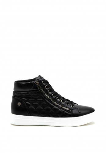 Xti Womens Quilted Faux Leather High Top Trainer, Black