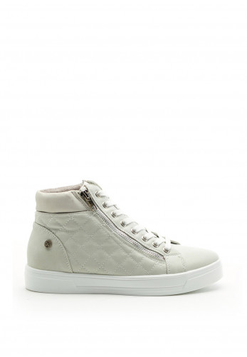 Xti Womens Quilted Faux Leather High Top Trainer, Beige