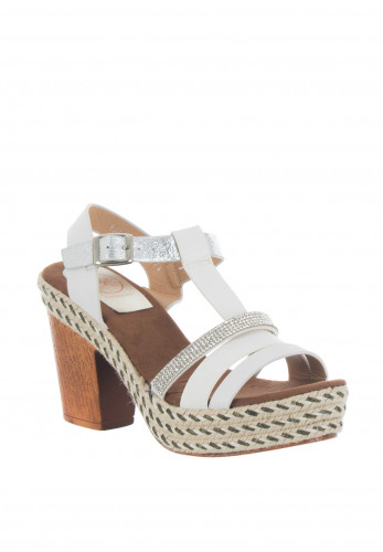 Zanni & Co. Tully One Block Heel Sandals, White