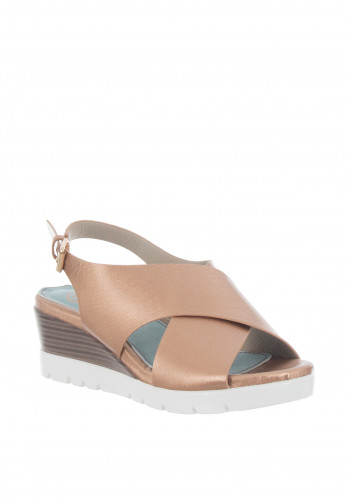 Zanni & Co. Salide Cross Strap Wedge Sandals, Rose Gold