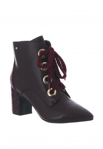 Zanni & Co. Luxor Lace Up Ankle Boots, Wine