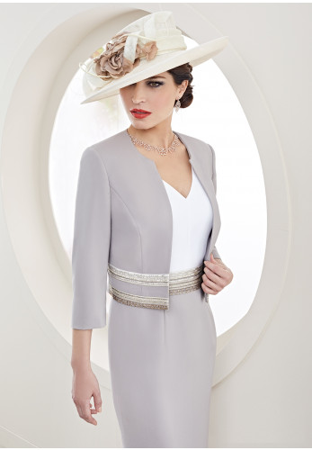 Zeila Gemstone Trim Dress & Jacket, Taupe