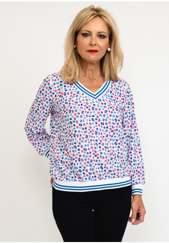 Leon Collection Sandra Abstract Dot V Neck Top, Blue Multi