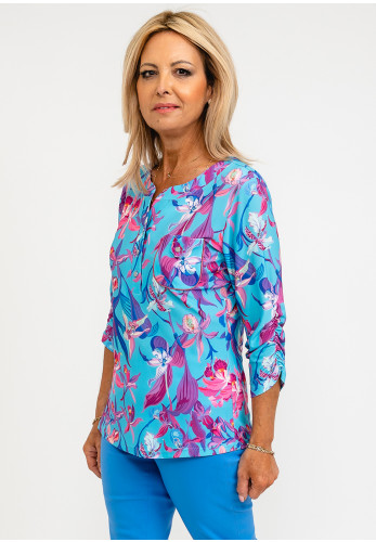 Leon Collection Khloe Lily Print Top, Blue Multi