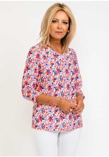 Leon Collection Laura Flower Patterned Top, Coral Mix