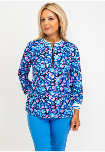 Leon Collection Mia Ribbed Collar Zip Up Top, Blue Multi