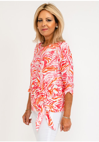Leon Collection Becca Tropical Print Top, Pink