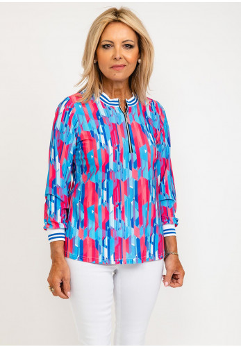 Leon Collection Viola Ribbed Collar Zip Up Top, Pink & Blue