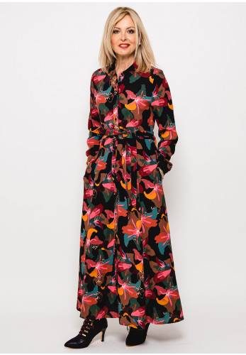 Zilch Abstract Floral Maxi Shirt Dress, Multi-Coloured