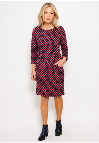 Zilch Quilted Print Jersey Dress, Pink & Navy