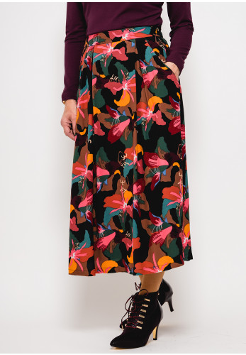 Zilch Abstract Floral Midi Skirt, Multi-Coloured