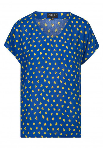 Zilch Triangle pattern V-Neck Top, Blue & Yellow