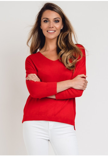 Zilch Bamboo Fine Knit Sweater, Red
