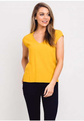 Zilch V-Neck Sleeveless Crepe Top, Mustard