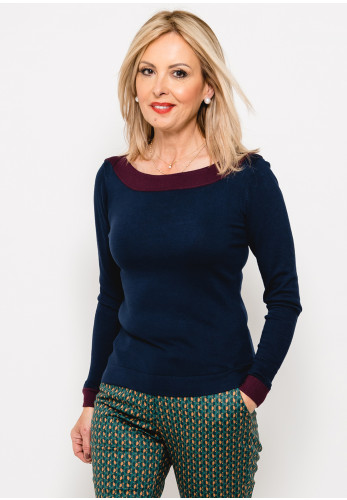 Zilch Contrast Trim Bamboo Fine Knit Jumper, Navy