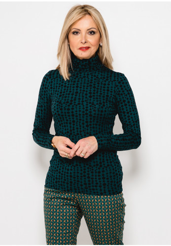 Zilch Printed Roll Neck Long Sleeve T-Shirt, Green