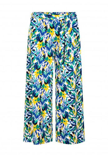 Zilch Floral Belted Culotte Jersey Trousers, Multi