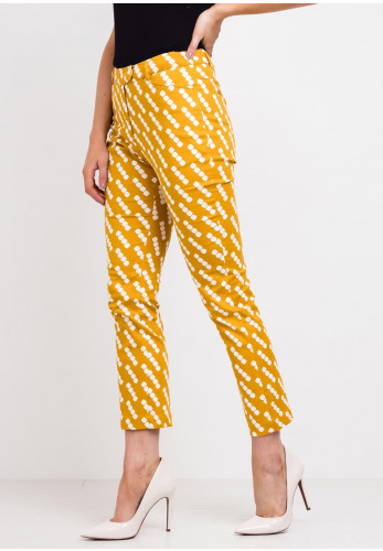 Zilch Square Print Slim Trousers, Mustard