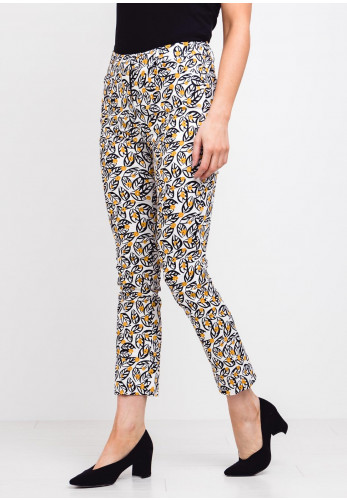 Zilch Leaf Print Slim Trousers, White Multi