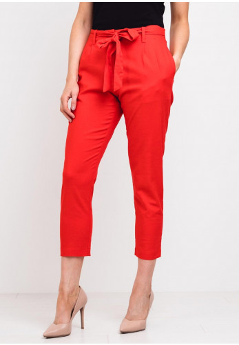 Zilch High Waist Linen Blend Crop Trousers, Red